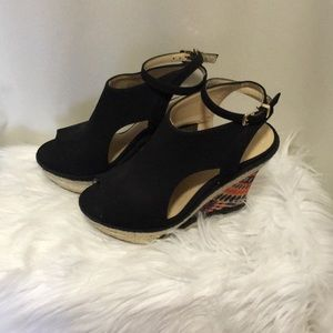 LimeLight, peacock heel, black wedges, size 6 1/2.